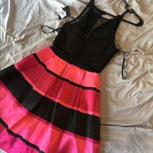 Black and Pink flare dress
